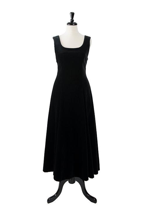 Vintage Velvet Long Black Dress