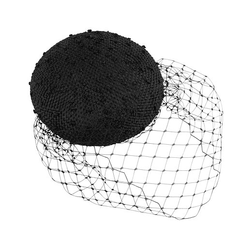 Knotted Ramie Button Beret With Veil