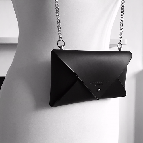 Leather Envelope Clutch with Chain
