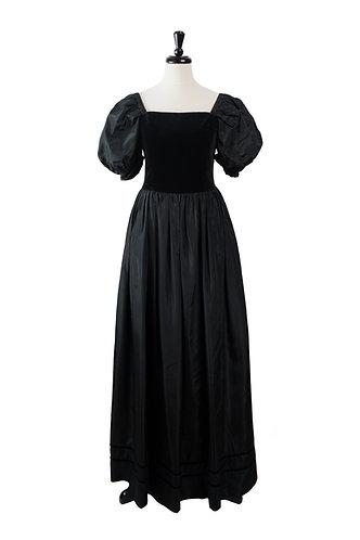Vintage Black Velvet and Taffeta Gown