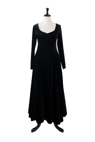 Vintage Velvet Black Evening Gown