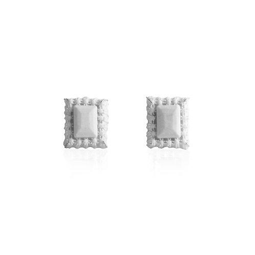 Beneath II - Porcelain Emerald Earrings