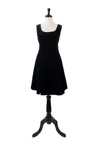 Vintage Velvet Short Black Dress