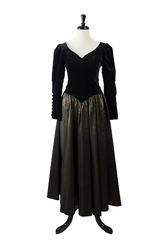 Vintage Velvet And Striped Taffeta Gown