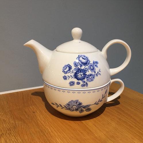 "Teekanne ""blaue Rose"" mit Tasse"