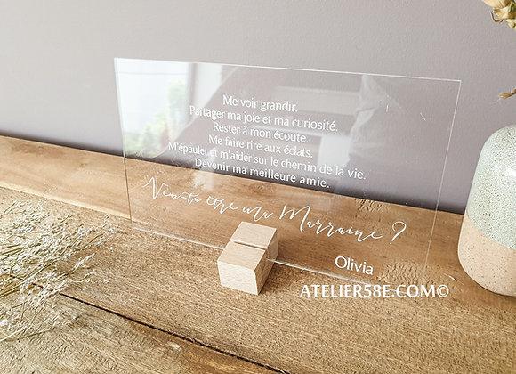 Petite pancarte en Plexiglas pour faire un cadeau à la marraine