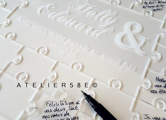 Livre d'or mariage puzzle en plexiglas avec gravure personnalisée
