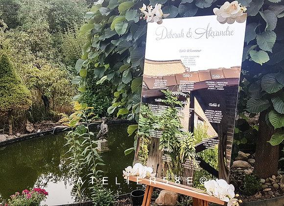 Plan de table miroir de mariage chic avec gravure personnalisée