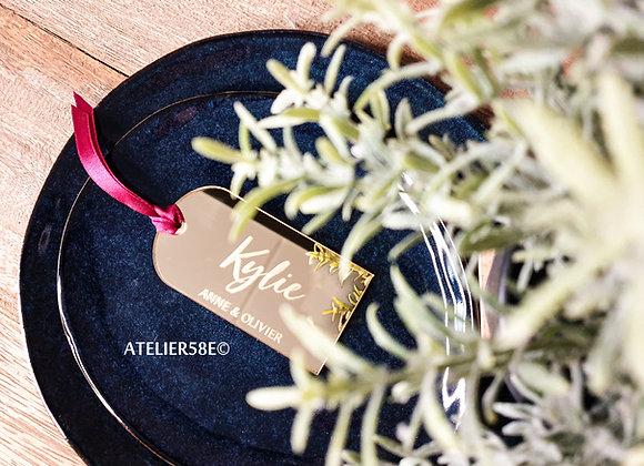 étiquette marque place mariage en plexiglas miroir doré