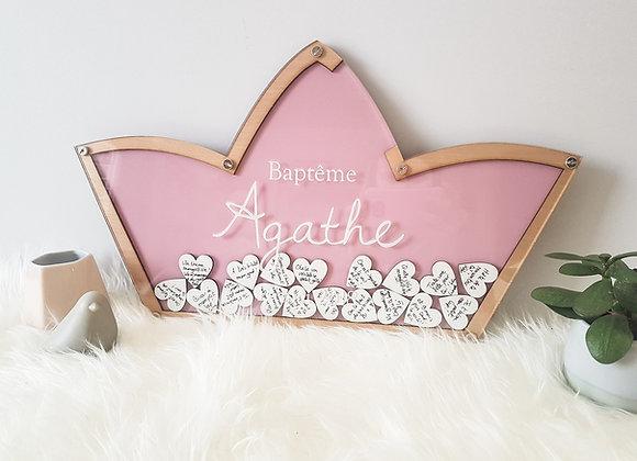 Livre d'or baby shower personnalisé pour fille en forme de couronne