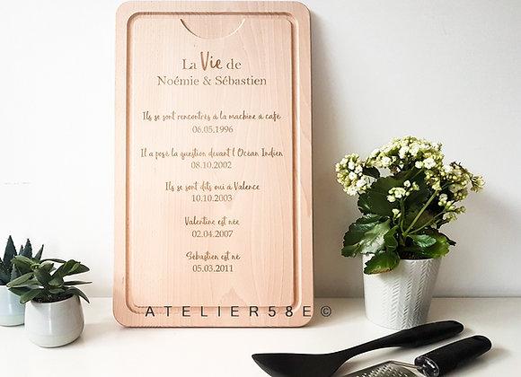 Cadeau de mariage personnalisé planche en bois avec gravure date