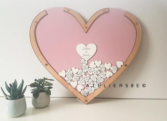 Livre d'or mariage bois personnalisé en forme de coeur