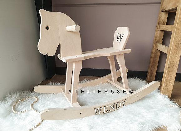 Cheval à bascule en bois personnalisé décoratif pour bébé