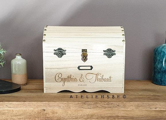 Urne mariage coffre en bois personnalisé avec gravure et securisé
