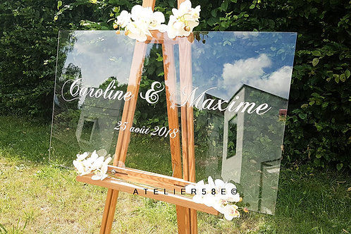 Panneau bienvenue mariage romantique en plexiglas