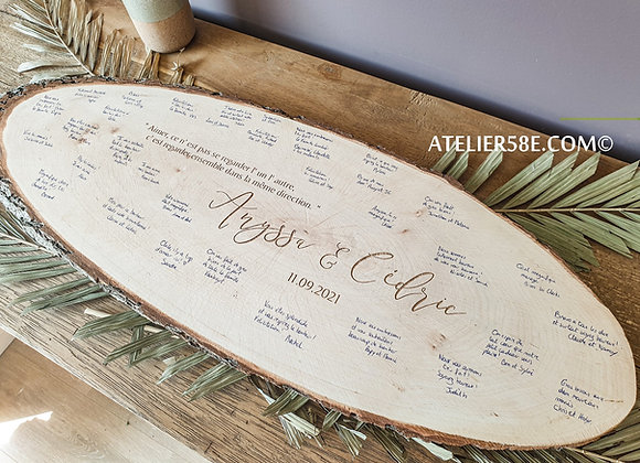 Livre d'or rondin de bois personnalisé pour mariage champêtre