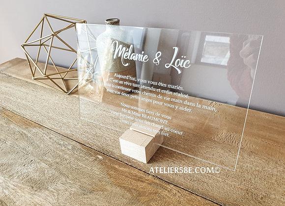 Pancarte de mariage en plexiglas à personnaliser avec texte libre pour offrir