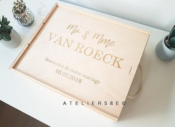 Boite rangement pour souvenirs de mariage en bois avec gravure personnalisée