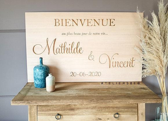 Panneau mariage bois personnalisé avec gravure