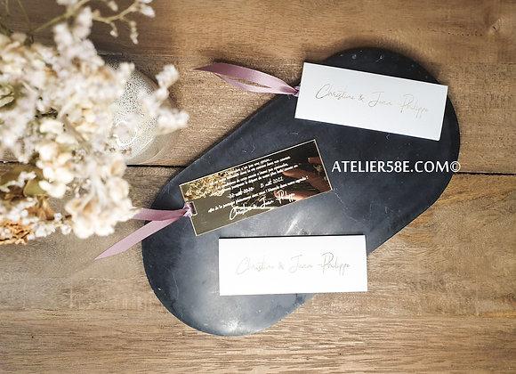 Faire-parts de mariage doré avec pochette blanche