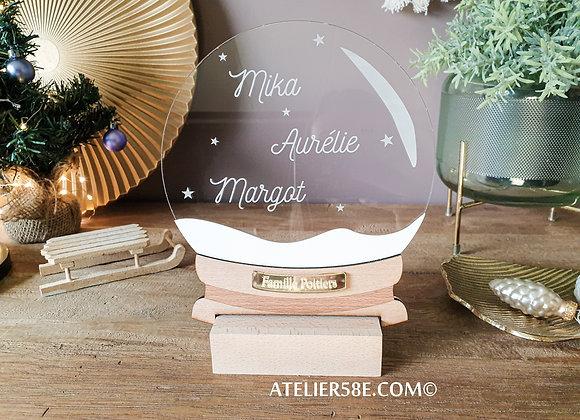 Boule à neige cadeau personnalisé de Noël pour famille