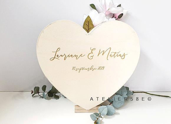 Urne mariage coeur en bois personnalisée