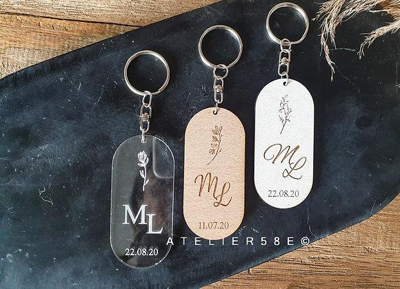 Porte-clés souvenirs de mariage personnalisé à offrir aux invités