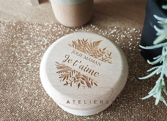 Boîte à bijoux en bois ronde avec gravure personnalisée