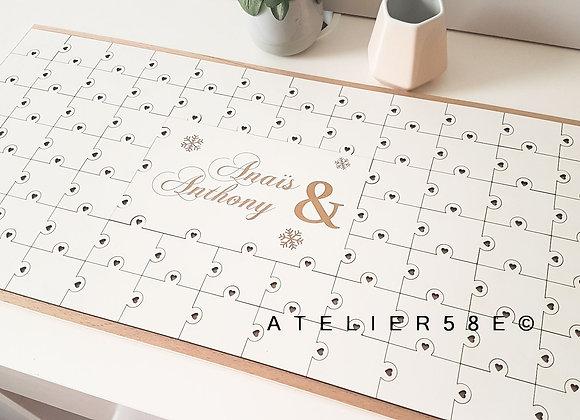 Livre d'or puzzle blanc de mariage avec gravure
