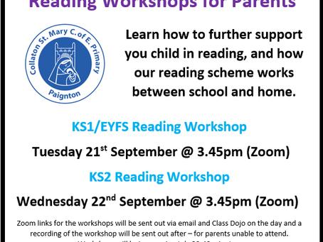 Reading Workshops for parents!