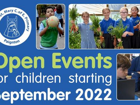 Open Events for Children joining September 2022