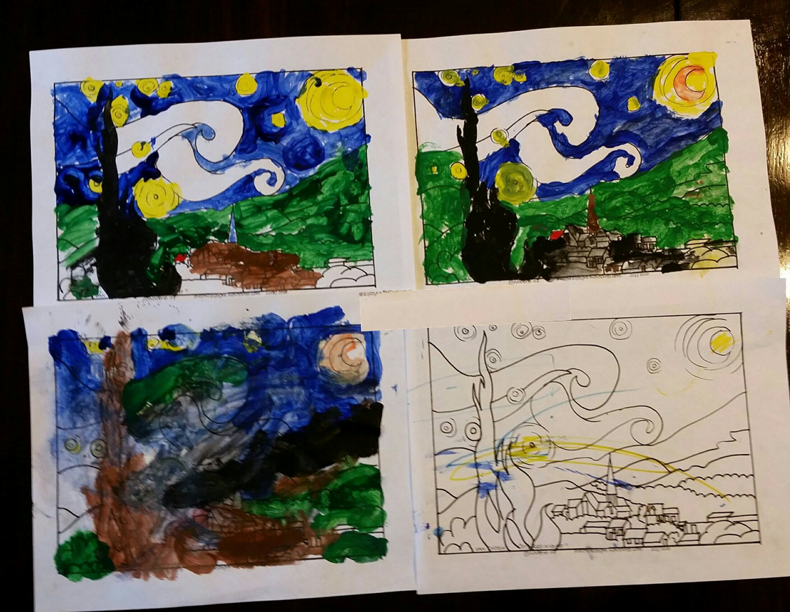 Starry Night paintings - Van Gogh study