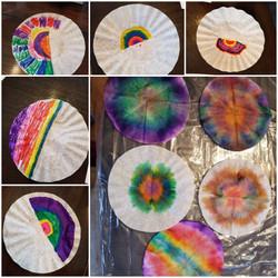 Pseudo tie dye on coffee filters