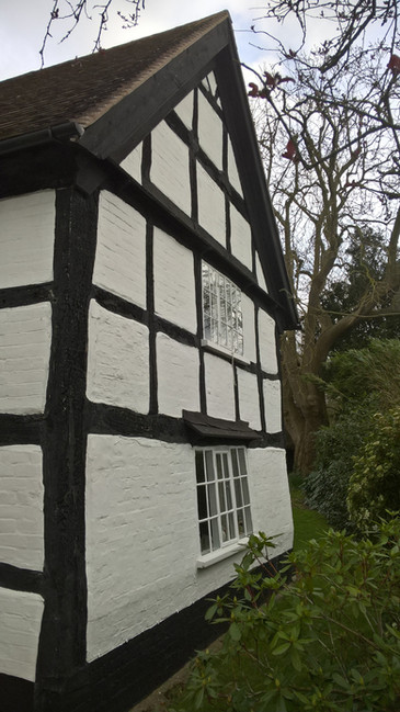 17C Worcestershire timber frame gable prior to repairs