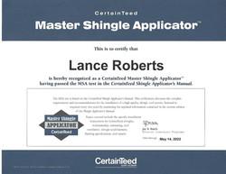Lance Roberts CertainTeed Certification