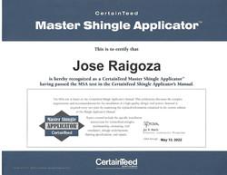 Jose Raigoza CertainTeed Certification
