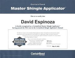 David Espinoza CertainTeed Certification