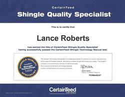 Lance Roberts CertainTeed Specialist Certification