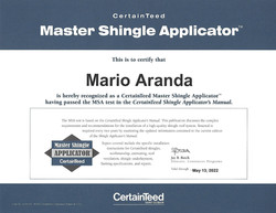 Mario Aranda CertainTeed Certification