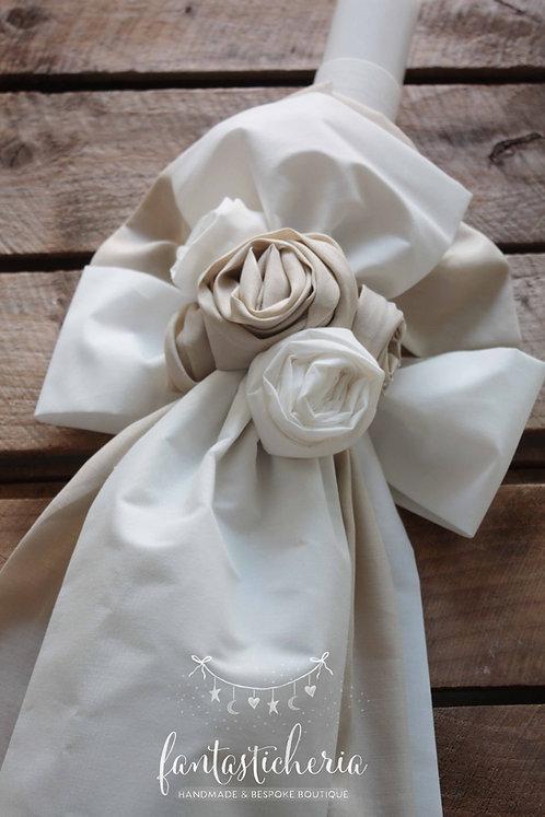 σετ βαπτιστικών λουλούδια ivoire