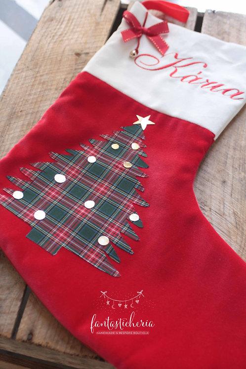 χειροποίητη κάλτσα Santa με κεντημένο όνομα 2020