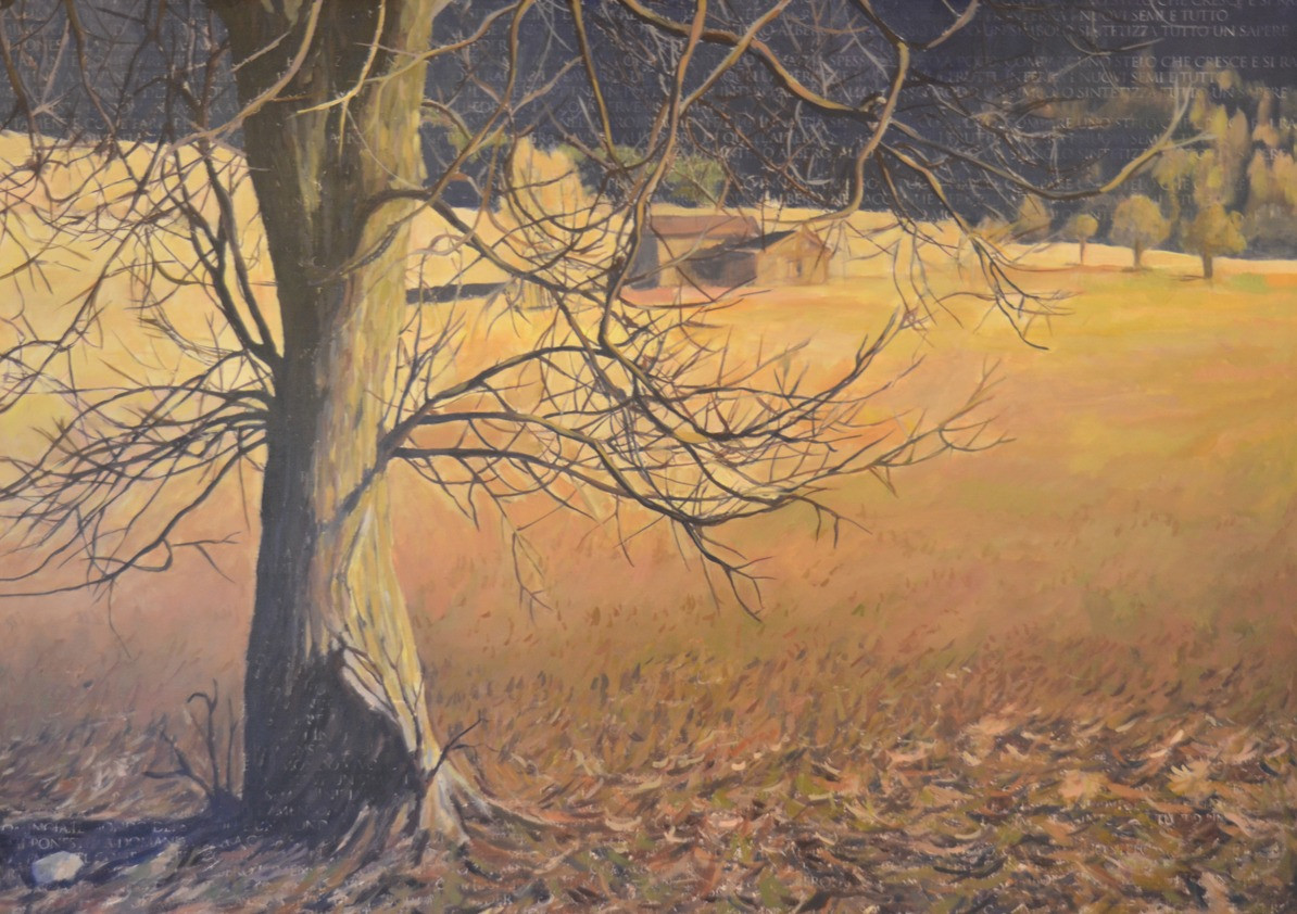 Nut tree on a field, 100x120 cm