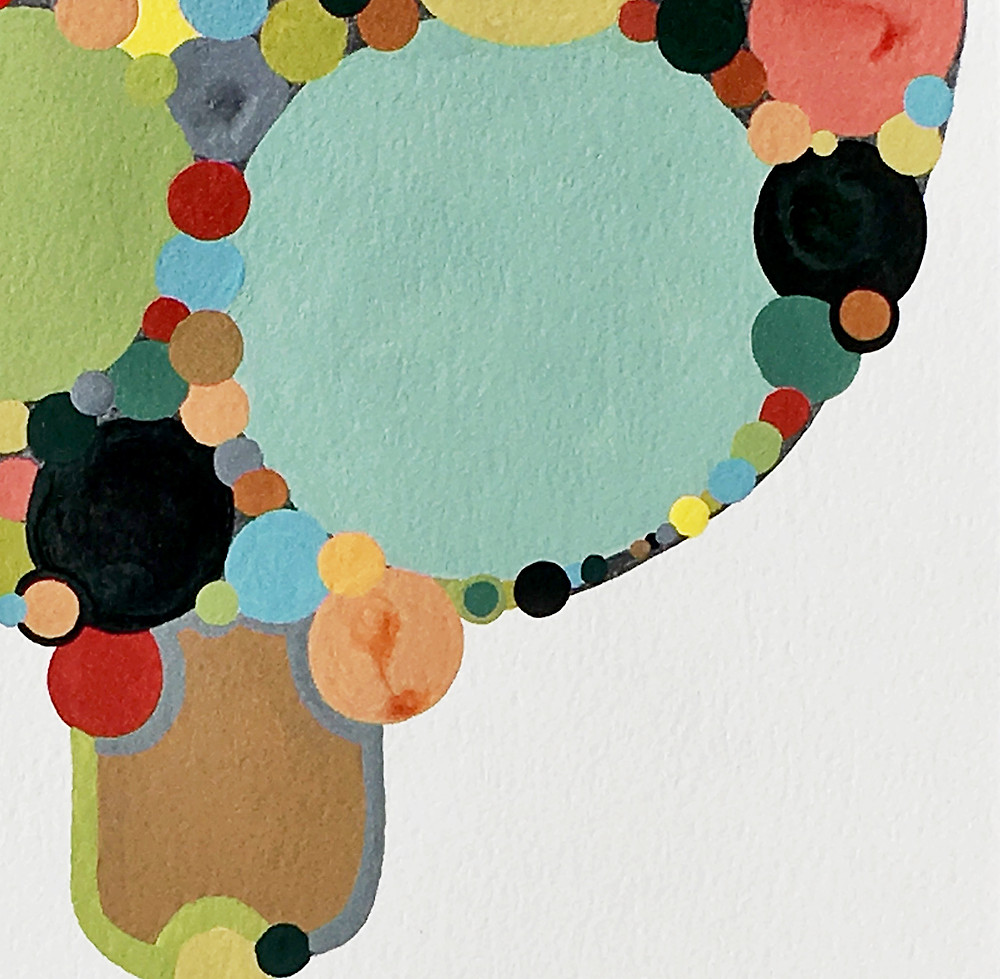 Detail of Mid Century Modern style abstract painting by Robin Arthur