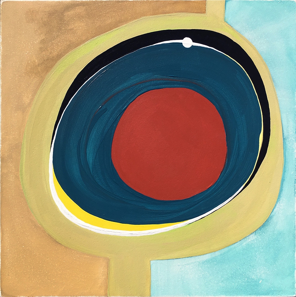 Modern Contemporary Interior Design, Red Circle Abstract 37 by Robin Arthur