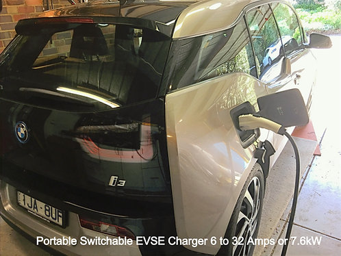 Portable Switchable EVSE Charger Up to 32 Amps (7.6kw)