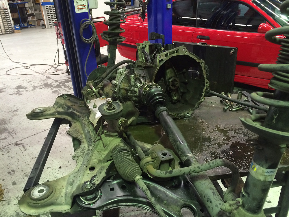 Engine removed from the subframe.. Gearbox etc left in place ready to receive the motor.