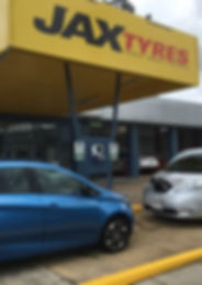 Electric vehicles charging at JAX Tyres
