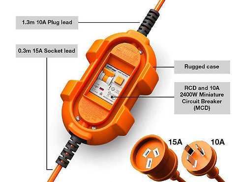 AMPfibian Mini EV 15 to 10A Breaker With RCD and Overload