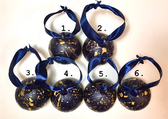 Navy and Gold / Bronze Paint Splattered Baubles