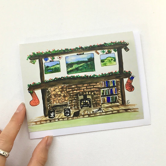 Pack of 5 Charity Christmas Fireplace Cards